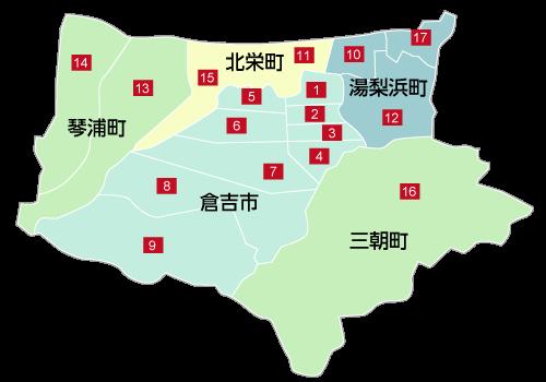 鳥取県中部の地図