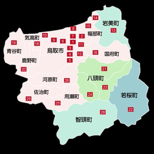 鳥取県東部の地図
